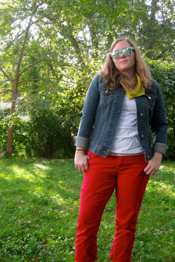 Red Jeans. Jean Jacket. 'Nuff said.
