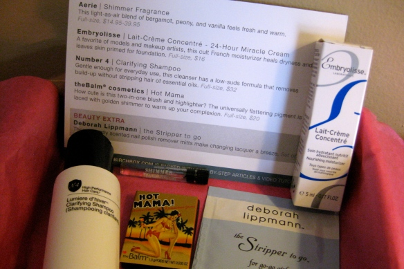 BirchBox: An awesome package with samples of beauty products