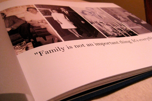The making of a beloved family photo book.